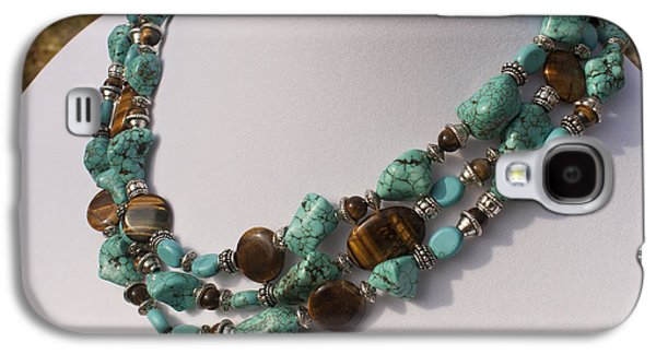 Round Jewelry Galaxy S4 Cases - Tiger Eye and Turquoise Triple Strand Necklace 3640 Galaxy S4 Case by Teresa Mucha