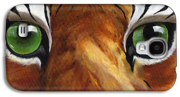The Tiger Paintings Galaxy S4 Cases - Tiger Eyes Galaxy S4 Case by Donna Tucker