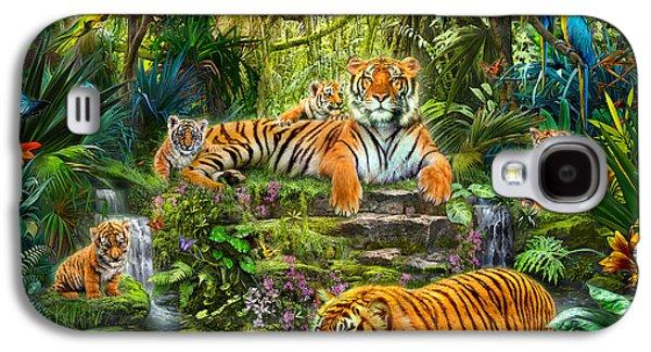 Botanical Galaxy S4 Cases - Tiger Family at the Pool Galaxy S4 Case by Jan Patrik Krasny