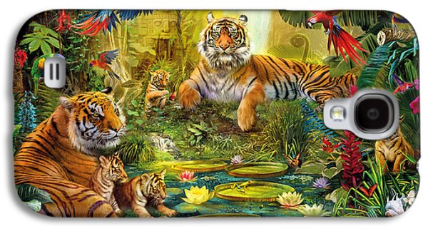 Botanical Digital Art Galaxy S4 Cases - Tiger Family in the jungle Galaxy S4 Case by Jan Patrik Krasny