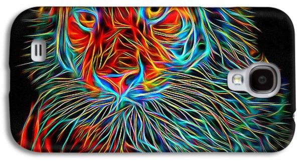 House Pet Digital Art Galaxy S4 Cases - Tiger Glowing Galaxy S4 Case by Yury Malkov