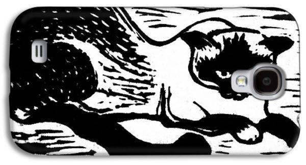 Linocut Galaxy S4 Cases - Tiger Galaxy S4 Case by Gun Legler