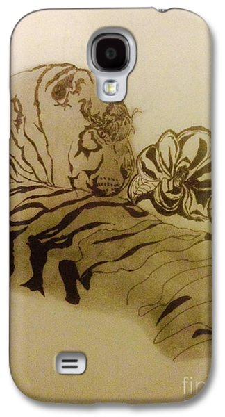 Indian Ink Mixed Media Galaxy S4 Cases - Tiger in the shade Galaxy S4 Case by Franky A HICKS