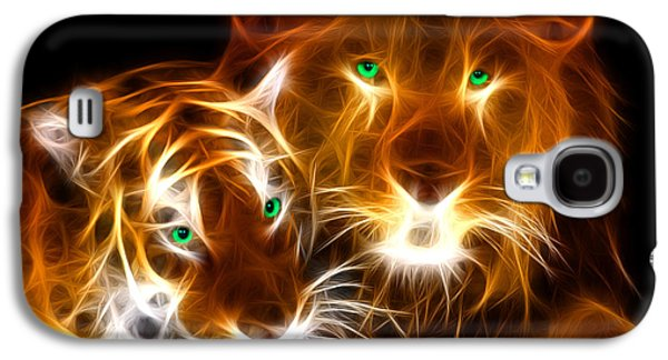Animation Galaxy S4 Cases - Tiger Lion  Galaxy S4 Case by Mark Ashkenazi