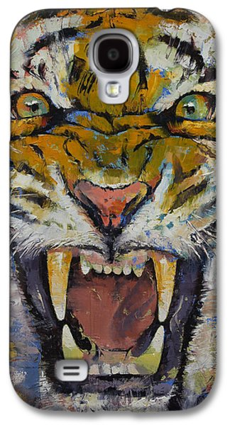 Raging Galaxy S4 Cases - Tiger Galaxy S4 Case by Michael Creese