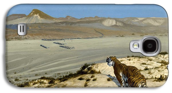 The Tiger Paintings Galaxy S4 Cases - Tiger on the Watch Galaxy S4 Case by Jean-Leon Gerome
