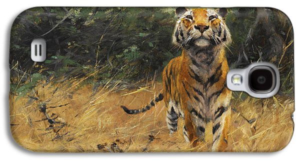 The Tiger Paintings Galaxy S4 Cases - Tiger on the watch Galaxy S4 Case by Wilhelm Kuhnert