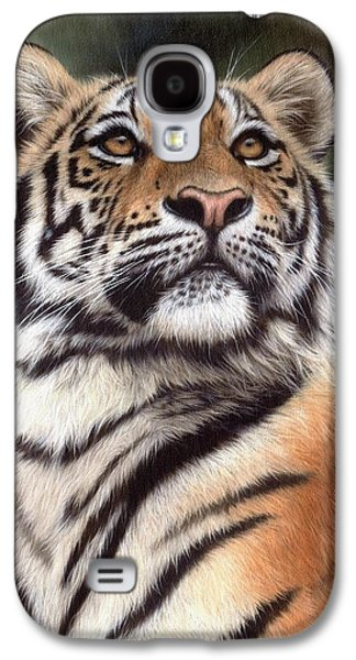 Tiger Galaxy S4 Cases - Tiger Painting Galaxy S4 Case by Rachel Stribbling