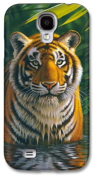 Animal Galaxy S4 Cases - Tiger Pool Galaxy S4 Case by MGL Studio - Chris Hiett