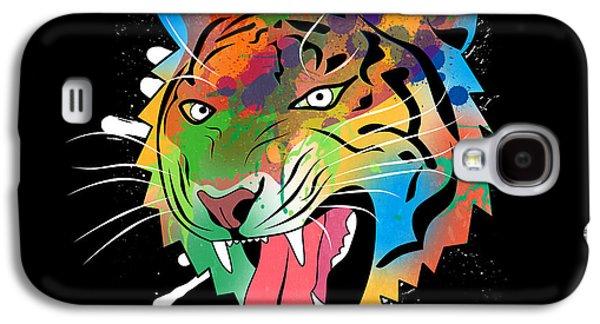 Animation Galaxy S4 Cases - Tiger Vector  Galaxy S4 Case by Mark Ashkenazi