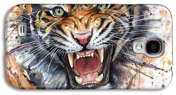 Tiger Watercolor Portrait Galaxy S4 Case by Olga Shvartsur