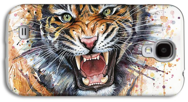 Tiger Galaxy S4 Cases - Tiger Watercolor Portrait Galaxy S4 Case by Olga Shvartsur