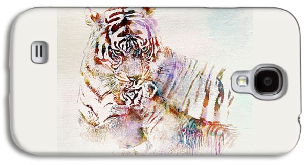 Tiger With Cub Watercolor Galaxy S4 Case by Marian Voicu