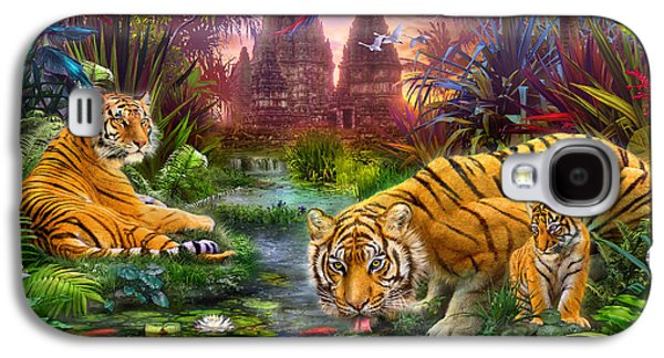 Botanical Galaxy S4 Cases - Tigers at the Ancient Stream Galaxy S4 Case by Jan Patrik Krasny