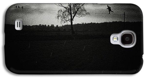 Alone Digital Art Galaxy S4 Cases - Tightrope walker Galaxy S4 Case by Joanna Jankowska
