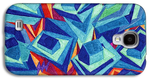 Abstract Landscape Galaxy S4 Cases - Tile 21 - House of Card Stacked on a Mountain Galaxy S4 Case by Sean Corcoran
