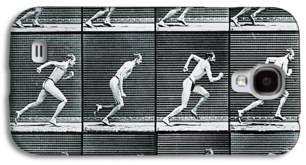 Nature Study Mixed Media Galaxy S4 Cases - Time Lapse Motion Study Man Running Monochrome Galaxy S4 Case by Tony Rubino