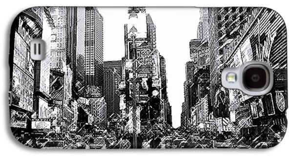 Cities Drawings Galaxy S4 Cases - Times Square   New York City Galaxy S4 Case by Iconic Images Art Gallery David Pucciarelli