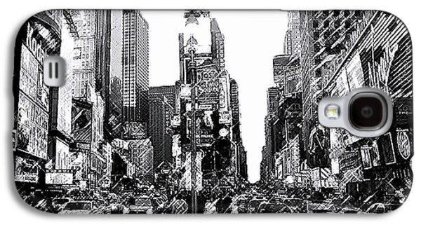 """square Art"" Drawings Galaxy S4 Cases - Times Square   New York City Galaxy S4 Case by Iconic Images Art Gallery David Pucciarelli"