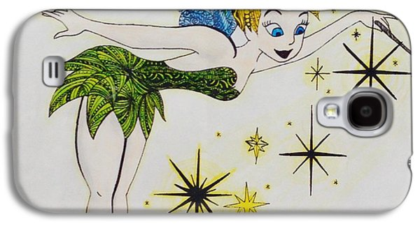Tinker Bell Galaxy S4 Cases - Tinker Bell Zentangle Galaxy S4 Case by Eleni Pessemier