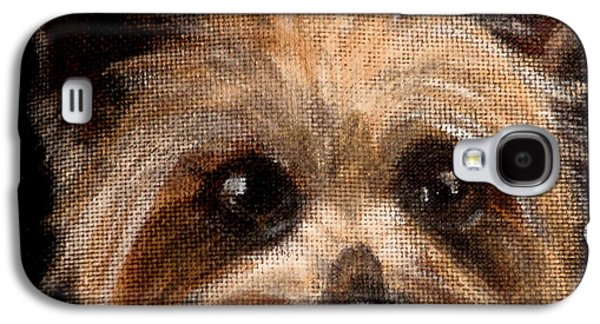 Dog Close-up Paintings Galaxy S4 Cases - Tinker Galaxy S4 Case by Carol Russell
