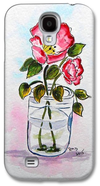 Water Jars Paintings Galaxy S4 Cases - Tipping mason jar with Poppies Galaxy S4 Case by Rita Drolet