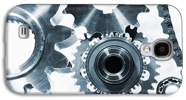 Gear Photographs Galaxy S4 Cases - Titanium Aerospace Parts In Blue Galaxy S4 Case by Christian Lagereek