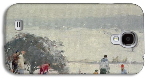 Sledge Galaxy S4 Cases - Tobogganing, The Meads, Hertford Oil On Canvas Galaxy S4 Case by Trevor Chamberlain