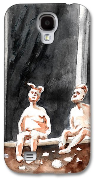 Statue Portrait Drawings Galaxy S4 Cases - Together Old in Italy 08 Galaxy S4 Case by Miki De Goodaboom