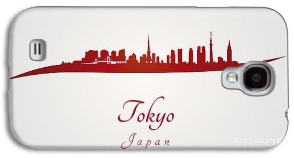 Tokyo Skyline In Red Galaxy S4 Case by Pablo Romero