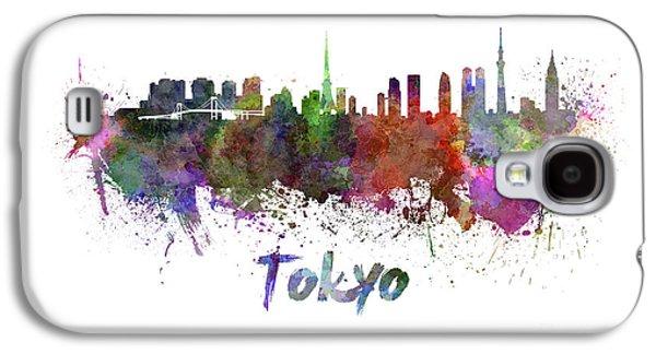 Tokyo Skyline In Watercolor Galaxy S4 Case by Pablo Romero