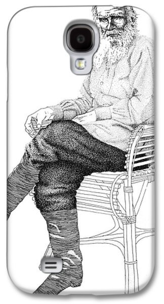 Lounge Drawings Galaxy S4 Cases - Tolstoy lounging Galaxy S4 Case by Alejandro Fonck