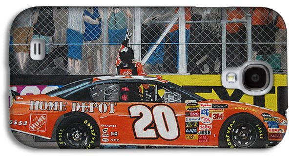 Fence Drawings Galaxy S4 Cases - Tony Stewart Climbs for the Checkered Flag Galaxy S4 Case by Paul Kuras