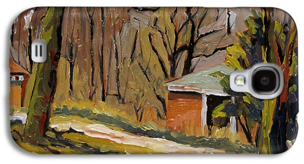 Early Spring Paintings Galaxy S4 Cases - Tool Shed Still Cold Galaxy S4 Case by Charlie Spear