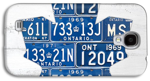 Toronto Maple Leafs Hockey Team Retro Logo Vintage Recycled Ontario Canada License Plate Art Galaxy S4 Case by Design Turnpike