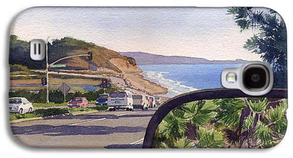 Pine Paintings Galaxy S4 Cases - Torrey Pines in Sideview Mirror Galaxy S4 Case by Mary Helmreich