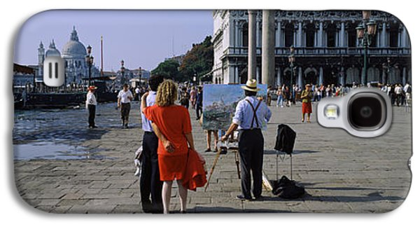 Town Square Galaxy S4 Cases - Tourists At A Town Square, St. Marks Galaxy S4 Case by Panoramic Images