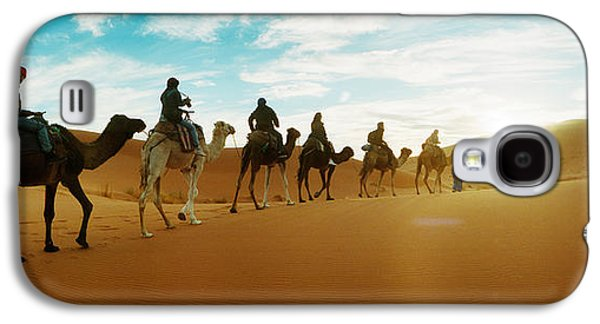 Sahara Sunlight Galaxy S4 Cases - Tourists Riding Camels Galaxy S4 Case by Panoramic Images
