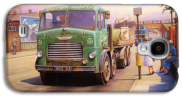 Streetscenes Paintings Galaxy S4 Cases - Tower Hill Transport. Galaxy S4 Case by Mike  Jeffries