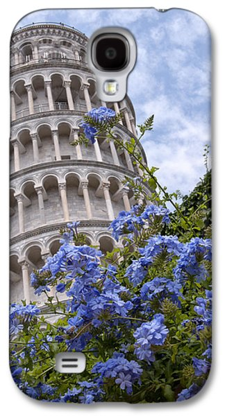 Best Sellers Photographs Galaxy S4 Cases - Tower of Pisa with Blue Flowers Galaxy S4 Case by Melany Sarafis