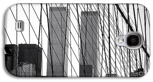Twin Towers Nyc Galaxy S4 Cases - Towers from the Brooklyn Bridge 1990s Galaxy S4 Case by John Rizzuto