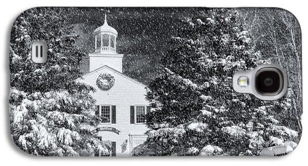 Snow Tree Prints Galaxy S4 Cases - Town Hall Of Wellfleet In Winter Galaxy S4 Case by Dapixara