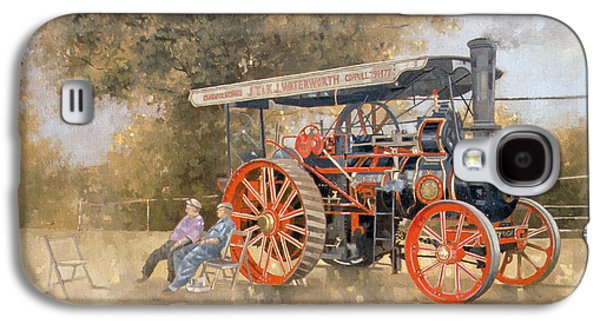 Display Galaxy S4 Cases - Traction Engine At The Great Eccleston Show, 1998 Oil On Canvas Galaxy S4 Case by Peter Miller