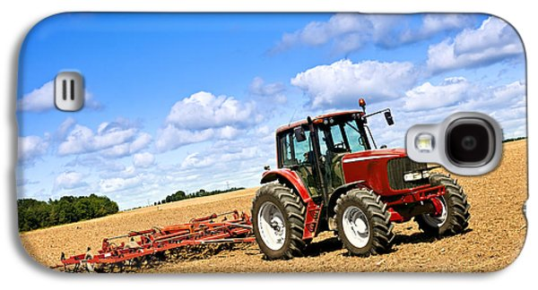 Business Galaxy S4 Cases - Tractor in plowed farm field Galaxy S4 Case by Elena Elisseeva