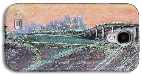 Sunset Abstract Pastels Galaxy S4 Cases - Train Coming at Sunset in West Oakland Galaxy S4 Case by Asha Carolyn Young