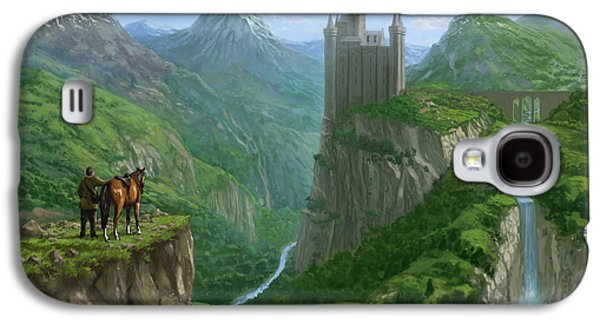 Epic Digital Art Galaxy S4 Cases - Traveller in landscape with distant Castle Galaxy S4 Case by Martin Davey