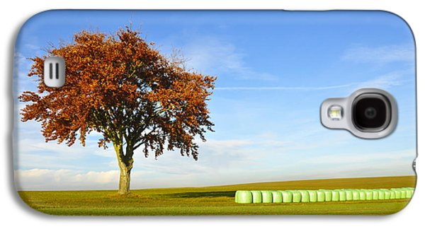 Hay Bales Galaxy S4 Cases - Tree and hay bales Galaxy S4 Case by Aged Pixel