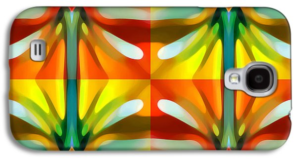Abstract Digital Art Galaxy S4 Cases - Tree Light Square Pattern Galaxy S4 Case by Amy Vangsgard