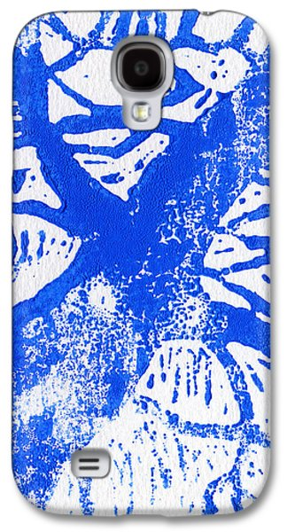 Lino Paintings Galaxy S4 Cases - Tree print blue Galaxy S4 Case by Christina Rahm