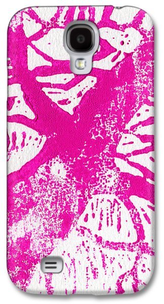 Lino Paintings Galaxy S4 Cases - Tree print Pink Galaxy S4 Case by Christina Rahm